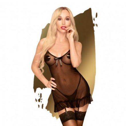 Bunosen-vonzo-fekete-atlatszo-szexi-ruha-L/XL