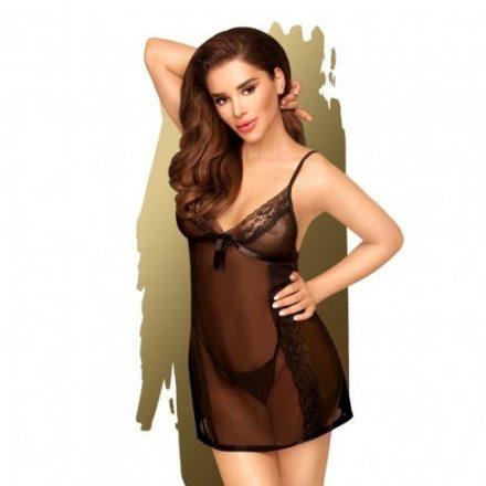 Elegáns csábítás fekete átlátszó szexi ruha S/M