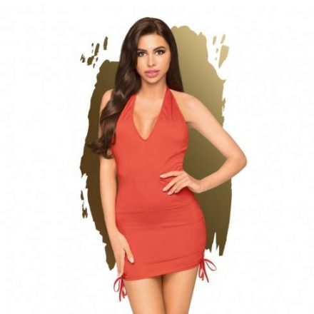 Laza-elegancia-piros-rovid-szexi-ruha-L/XL