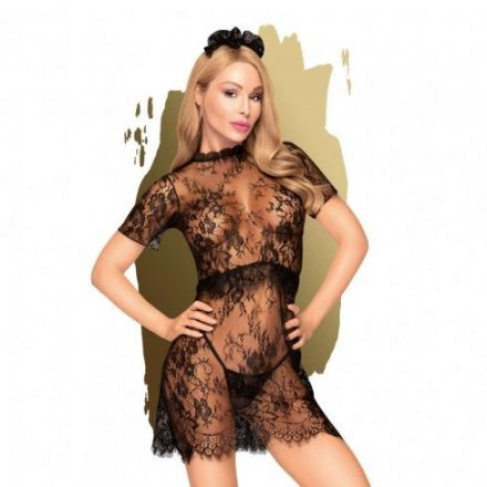 Mergezo-edesseg-fekete-csipkes-szexi-ruha-L/XL