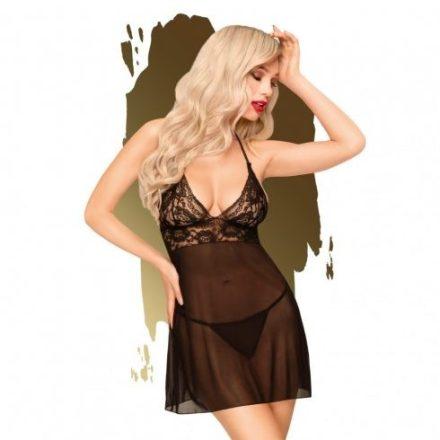 Esti mese fekete felül csipkés szexi ruha S/M