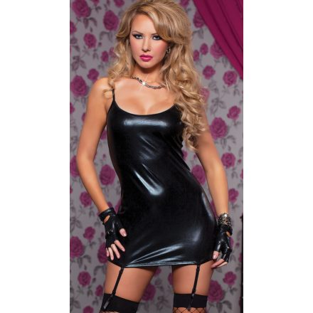 Fekete-Lakk-Mini-ruha-XL